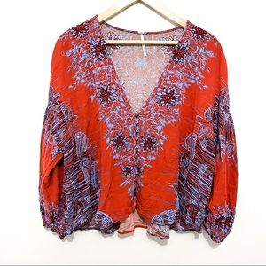 Free People Birds of a Feather peasant top sz M
